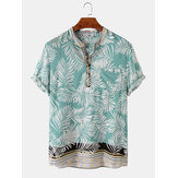 Banggood Design Men Rayon Tropical Leaf Ethnic Border Print Andningsbara Henley-skjortor