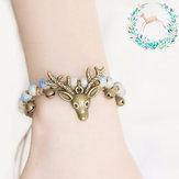 Vintage Hirsch kleine Glocke Wachs Seil Perlen Charm Armband