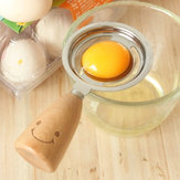 KCASA KC-ES029 Stainless Steel Egg Separator Smile Wood Handle Egg White Yolk Divider Kitchen Tools