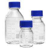 100/250 / 500mL de vidro de borosilicato Frasco de reagente transparente Tampa de parafuso azul Frasco de armazenamento de laboratório