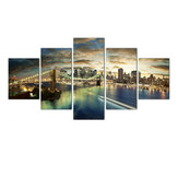 5 Pcs Wall Decorative Painting New York City at Night Wall Decor Art Pictures Canvas Prints Home Office Hotel Decorations