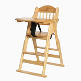 Folding Adjustable Baby Wooden High Chair Table Seat Toddler Feeding Highchair