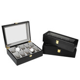 6/10/12 Slots Black Wooden Watch Display Storage Box