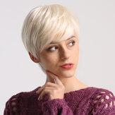 Lady Damen Kurzwellige synthetische Haarperücke Blond mit Highlights Volle Perücken