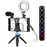4 in 1 Vlogging Live-Übertragung Smartphone-Video-Rig +4,7 Zoll RGBW Selfie Ring Licht & Mikrofon Stativhalterung + Stativkopf