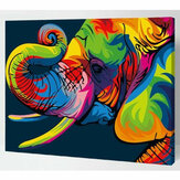 Colorful Elephant Number Kit Oil Painting Set By Number DIY Pigment Painting Art Hand Craft Tool Supplies