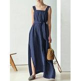 Solid اللون فستان ماكسي كاجوال بدون أكمام برباط من القطن مع جيوب جانبية