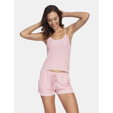 Summer Sleepwear Sling Lace-trim Backless Tops With Short Pants 2-Piece Pajamas