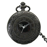 DEFFUN Vintage Berongga Roman Flower Alloy Pocket Watch
