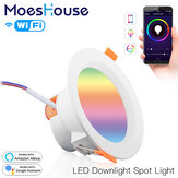 MoesHouse WiFi Smart LED Downlight 7W RGB+CW+WW Dimming Round Spot Light Work with Alexa Google Home AC110-240V
