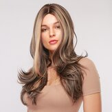 26 Inch Brown Mixed Gold Long Curly Hair Breathable Chemical Fiber Full Head Cover Wig