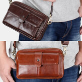 Men Genuine Leather Multi-function Retro Shoulder Bag Waist Bag Cross Body Bag