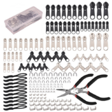 197Pcs Zipper Repair Kit Zipper Replacement Zipper Pull Rescue Kit with Zipper Install Pliers Tool and Zipper Extension Pulls for Clothing Jackets Purses Luggage Backpacks