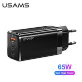 [GaN Tech] USAMS Mini 65W 3-Port USB PD Charger PPS PD3.0 QC3.0 FCP SCP Fast Charging Wall Charger Adapter With EU Plug US Plug For iPhone 11 SE 2020 For iPad Pro 2020 MacBook Air 2020 For Samsung Galaxy Note 20 Huawei P40