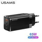 [GaN Tech] USAMS Мини-зарядное устройство USB PD с 3 портами мощностью 65 Вт PPS PD3.0 QC3.0 FCP SCP Адаптер настенного зарядного устройства для быстрой зарядки