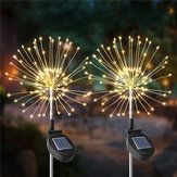 2 UNIDS Solar Powered 105LED Starburst Fireworks Fairy String Landscape Light Christmas al aire libre Decoración