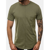 Mens Solid Color Chest Pocket Leisure Casa de férias Round Neck T-shirts