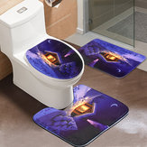 3Pcs Bathroom Set Flannel Carpet Christmas Toilet Non-slip Rug Lid Pedestal Mat