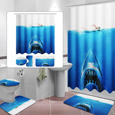 Deep Sea Shark 3D Printing Badkamer Douchegordijn Toilet Cover Mat Antislip Tapijt Sets