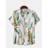 Erkekler Tropikal Bitki Yapraklar Baskı Turn Down Yaka Hawaii Plaj Kısa Kollu Gömlek