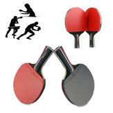 1ペア卓球ラケットウッドラバーロング/ショートハンドルパドルアウトドアスポーツトレーニングピンポンパドルバット3ボール