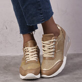 Large Size Women Round Toe Hollow Breathable Lace Up Wedges Sneakers