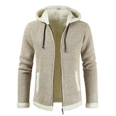 Mens Fashion Hooded Knitting Thickened Drawstring Casual Jacket