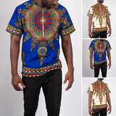 INCERUN African Dashiki Shirt Men Short Sleeve Ethnic Style Printed Summer Zipper Casual Tops Traditional Shirts Clothes