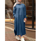Women Solid Side Pockets Denim Casual Loose Kaftan Robe Split Shirt Maxi Dress