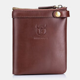 Bullcaptain Genuine Leather Multi-Card Holder Zipper Wallet Coin Bag For Men