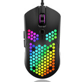 Free-wolf M5 Wired Game Mouse Andning RGB Colorful Hollow Honeycomb Shape 12000DPI Gaming Mouse USB Wired Gamer Möss för stationär dator Bärbar PC