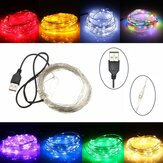 10M 100 LED Srebrny drut USB Elastyczny sznurek Fairy Light Christmas Wedding Party Decor