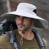 Escalada de pesca ao ar livre para homens de aba larga 14 CM UV proteção para solário balde respirável impermeável
