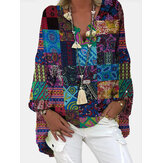 Women Tribal Print Color Block V-Neck Ethnic Style Blouses
