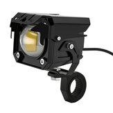 2 uds Moto LED luz estroboscópica auxiliar de haz alto / bajo doble colores luz antiniebla aleación de aluminio punto de conducción de seguridad Lámpara faro