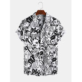 Character Cartoon Abstract Breathable Short Sleeve Casual Shirts For Men Women