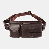 Men Genuine Leather Retro Multi-carry 7 Inch Phone Bag Sport Chest Bag Cross Body Bag