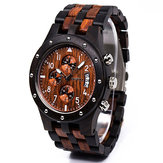 BEWELL ZS-W109D Calendar Casual Style Unisex Wood Watch
