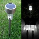 Trädgård Solkraft Vit LED Lampa Rostfritt Stål Vattentät Gräsmatta Light