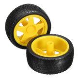 2pcs roues de pneus de voiture de robot intelligent pour châssis de moteur à engrenages TT