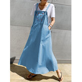 Flower Embroidery Side Pocket Loose Straps Casual Maxi Dress