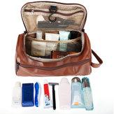 Leather Toiletry Bag Men Large Shaving Brush Cosmetic Travel Kits Organizer Case