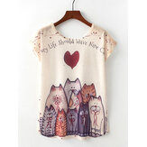 Casual Cartoon Cat Print Dames Zomer T-shirts met korte mouwen