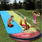 Aufblasbare doppelte Wasserrutsche Spaß im Freien Splash Slip für Kinder Sommer Pool Kinder Spiele