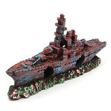 Aquarium Destroyer Navy War Boat Kapal Wreck Fish Tank Cave Dekorasi Ornament