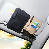 PU Leather Car Sun Visor Glasses Clip Card Pen Holder Storage Driver License Package