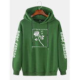 Mens Rose Graphic Character Sleeve Print Casual Drawstring Hoodies