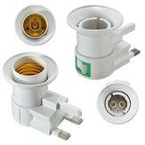 UK Plug E27 B22 Wall Screw Base Light Bulb Lamp Socket Holder Adapter Converter 110-240V