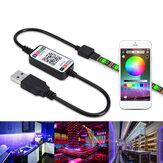 1-5M USB LED Işık Şeridi 2835 RGB APP Kontrolü IP65 Su Geçirmez TV Arka Işık Su Geçirmez