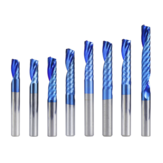 Drillpro 6mm Shank 1 Flute Spiral End Mill Carbide End Mill Blue Nano Coating CNC Router Bit Single Flute End Mill Milling Cutter